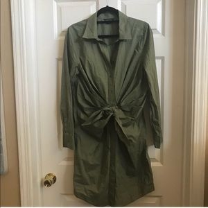 Moda International green draped shirt dress 14